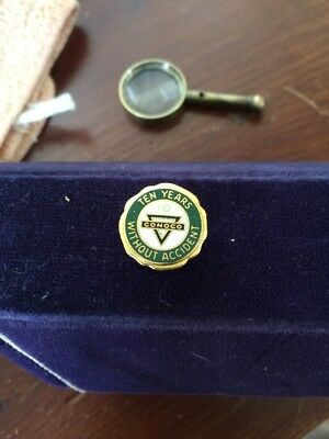 Vintage CONOCO Ten Years without Accident Service Award PIN