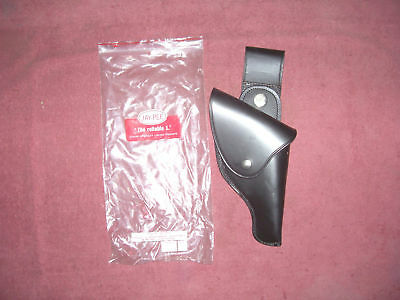 New Black Leather Police. 38 Cal. Holster W/ Belt Swivel