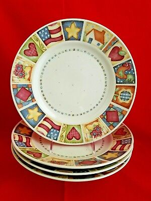 Gibson Everyday China Dishes Dinner Plates Country Quilt Pattern Set Of 4