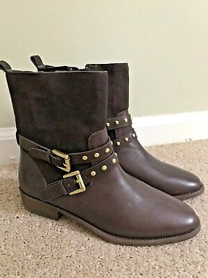 New Coach Lliana Brown leather suede boots size 5