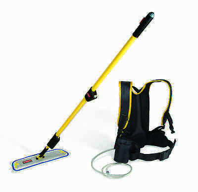 Rubbermaid Q979 Flow Backpack Floor Finish System with two Q805 Finishing Mops