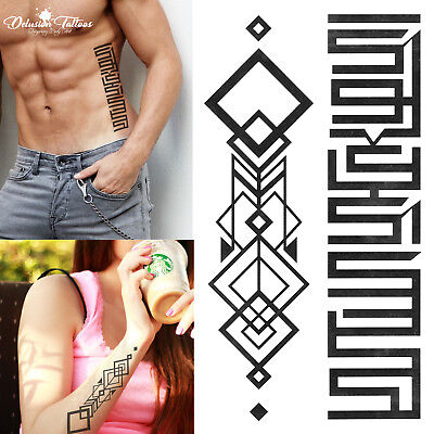 Geometric Abstract Temporary Tattoos -  Set of 2 - Bands Tribal Patterns Black