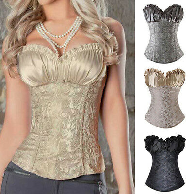 7cec81e98100c Women corset bustier top boned waist training overbust lace up printing  shaper jpg 400x400 Party corset