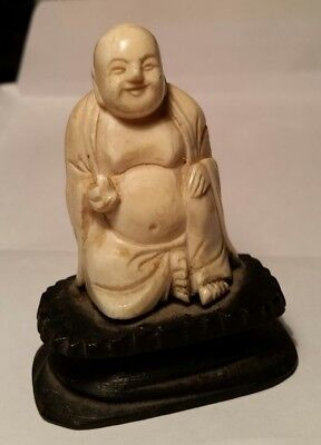 "Ivory Colored Bone BUDDHA 2"" on stand"