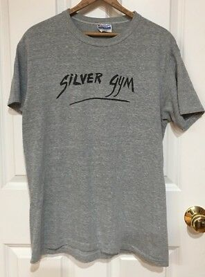 Vintage Hanes SILVER GYM Gray Poly Cotton Tee Shirt Size Large 42-44