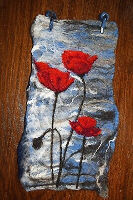 Poppies by Water. Wet and Needle felted Art work wall hanging 100% Wool