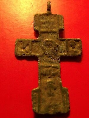 Antique Byzantine 15th Russia FACE Orthodox Crucifix Cross Pendant 3.14 gr
