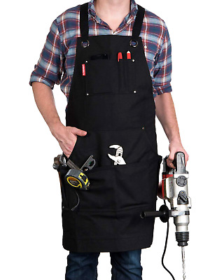 Heavy Duty Work Apron Waxed Canvas w/ Tool Pockets Woodworking Welding Workshop
