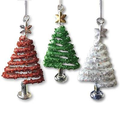 Christmas Tree Ornaments Set Of 3 Red White And Green Hanging Swirly Trees