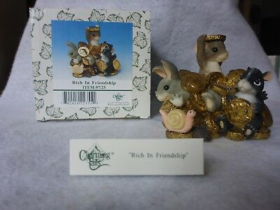 """RETIRED Charming Tails by Fitz & Floyd """"Rich in Friendship"""" ~Mouse, Bunny, Skunk"""