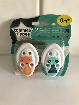 Tommee Timpee Closer To Nature Green&orange Dummy/soother Clips 0M+ -New&unused
