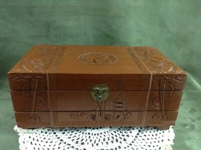 Vintage 2 tier Wooden Carved Asian Chinese Oriental Dragon Phoenix Jewelry Box