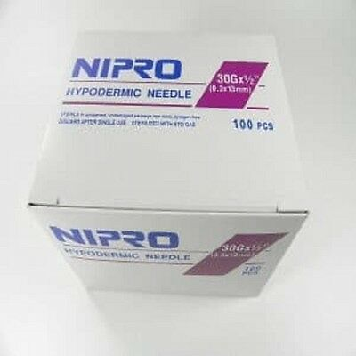 Nipro 30Gx1/2 Hypodermic Needle Sterile Blister Pack 2 Boxes of 100/bx AH+3013