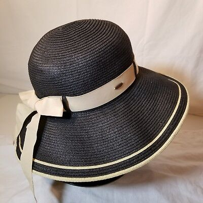 1160cb70 Scala Collezione Black/Tan Wide Brim Sun Hat One Size Ladies Womens