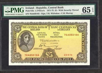 *1974 IRELAND - REPUBLIC OF 5 POUNDS  PICK 65c PMG 65 EPQ  PLEASE  LQQK!!
