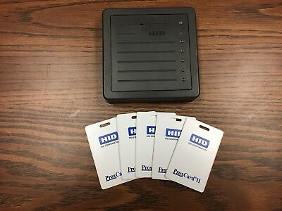 Hid Proxpro Reader 5355Agn00 Gray-Used/tested...includes 5 Cards (1326Lssmv)!!!
