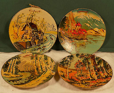 Antique Wood Plates Hand Painted Japan Scenic Woods Windmill And Mountains