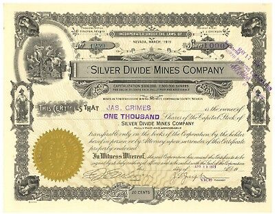 Silver Divide Mines Company. Stock Certificate. Tonopah Divide Nevada
