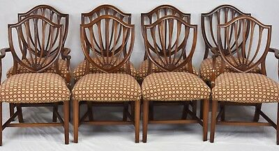 Set of 8 Hepplewhite Shield Back Dinning Room Chairs with Scalamandre Fabric