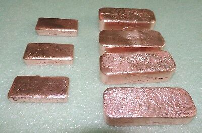 7 Copper Ingot Bars .999 Pure Total Weight 146.96 Ounces Or 9.18 Pounds .