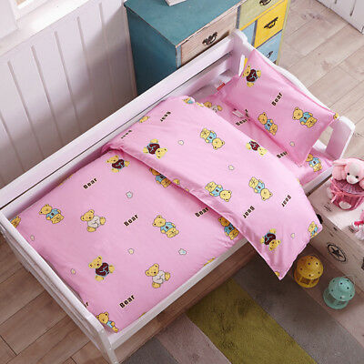 Pink Teddy Bear New Baby Bedding Crib Cot Set Quilt Cover Padded Cotton Nursery