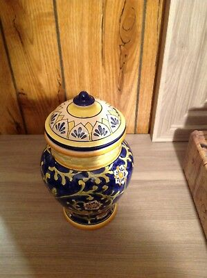 Yellow Blue White Ginger Vase Jar with Lid WCL Vintage