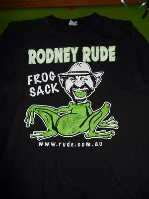 Black Cotton Rodney Rude Frog Sack Signed Tour Comedy Concert T-shirt 20 XL