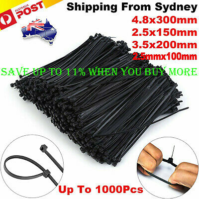 Cable Ties Zip Ties Nylon UV Stabilised 100/200/500/1000 x Bulk Black Cable Tie