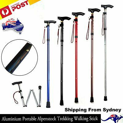 Aluminium Folding Cane Anti Slip Adjustable Outdoor Sports Walking Travel Sticks