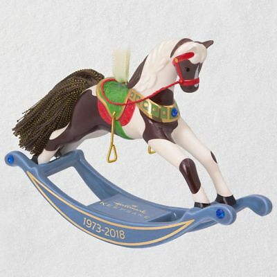Hallmark 2018 ~ Forty-five Years of Memories Rocking Horse Porcelain Ornament