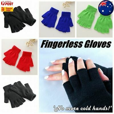Winter Fingerless Gloves Open Fingertips Warm Half Finger Knitted Unisex AUS