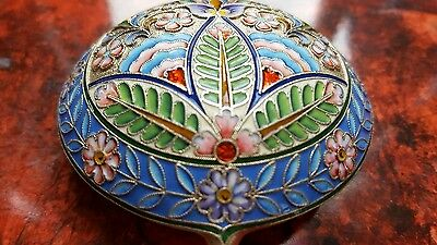 Antique Imperial russian shaded enamel silver 84 spoon Moscow N. Alexeev 7.25 in