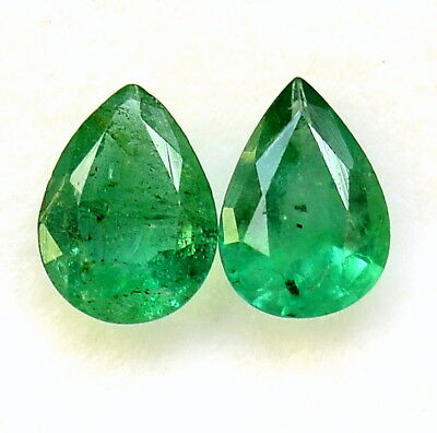 Certified Natural Emerald Pear Cut Pair 7x5 mm 1.12 Cts Zambia Loose Gemstones