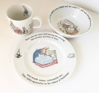 Peter Rabbit Nursery Set By Wedgwood Beatrix Potter 3 Piece New In Box