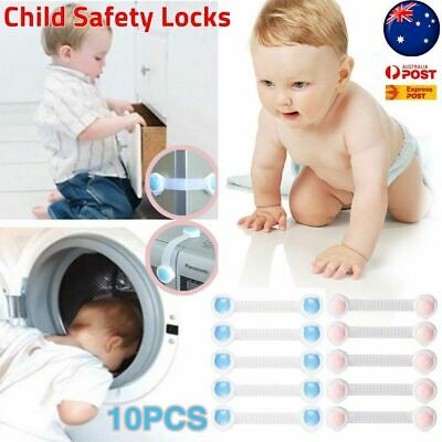 Child Adhesive Kid Baby Safety Drawer Door Lock Cupboard Cabinet Belt White AUS