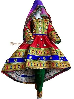 Afghan/Pakistan Kuchi party traditional multi color  Mirror Dress from paksitan