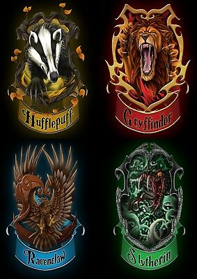 Harry Potter Movie House Crests Banners Glossy Wall Art Poster (A1 - A5 Sizes)