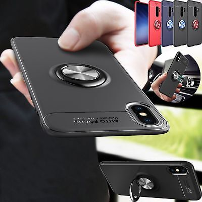 Fr iPhone 6s 7 8 XS Max X Metal Magnetic Case Cover With Car Ring Holder Buckle
