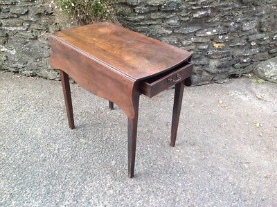Georgian Mahogany Drop Leaf Side Table Occasional Table Card Table Single Drawer