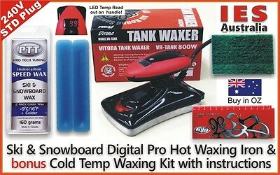 Ski & Snowboard Digital Hot Waxing Iron + Blue Colder Temp wax Kit, DIY & save $