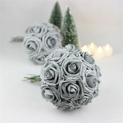 1-50PCS Silver Foam Roses Artificial Flowers Party Wedding Bouquet Home Decor