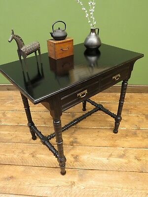 Aesthetic Movement Ebonised Console Table with Drawers, Gothic Antique Table