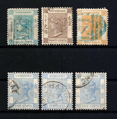 Hong Kong QV 1862-1882 selection of 6 stamps used with 12c. unwatermarked