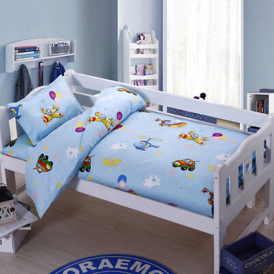 Blue Plane Car New Baby Bedding Crib Cot Set Quilt Cover Padded Cotton Nursery