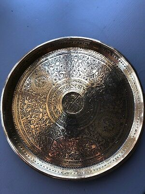 Antique Asian/indian Brass Mandala Plate Hand Made Etched With Symbols