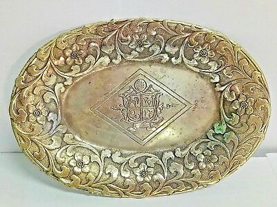 Antique London England Sterling Silver Vintage Floral Serving Dish Tray Plate.