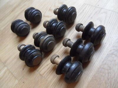 9 large antique wooden Victorian drawer knobs turned door knobs see pictures 13E