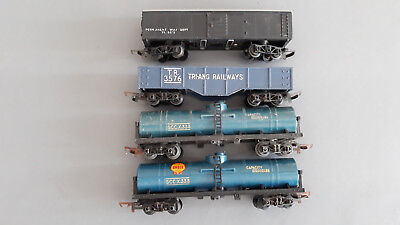 Triang Transcontinental Freight Cars X 4 Fair Condition Unboxed Oo Gauge(Hb)