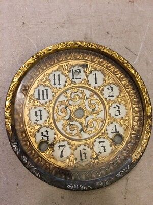 Antique Sessions Adamantine Mantle Clock Ornate Dial And Bezel With Glass