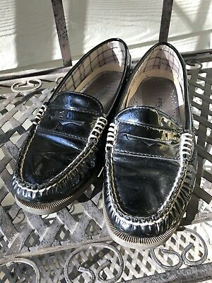 6f5e835b91f Sperry Top Sider Hayden Penny Loafers Black Patent Leather Womens Shoes  Size 6
